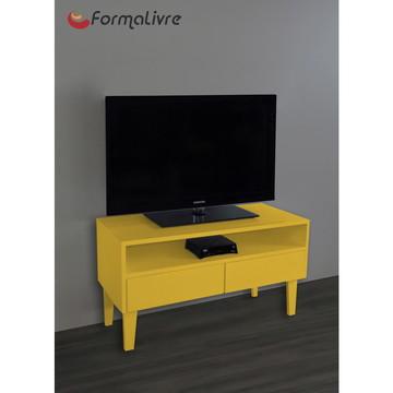 Rack para TV Bancada Com Nicho e Gaveta Laqueado Amarelo