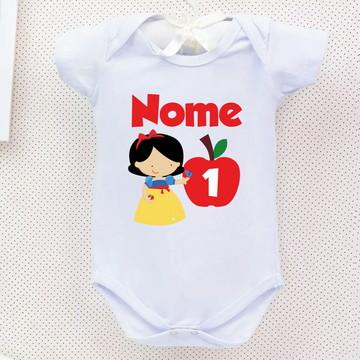 Body Branca de Neve Personalizado Bebe