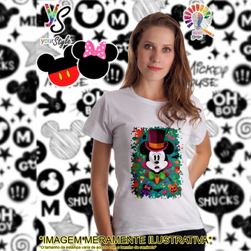 Baby look Feminina Mickey Mouse Halloween