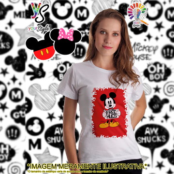 Baby look Feminina Mickey Mouse Free Hugs
