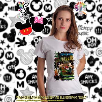Baby look Feminina Mickey Mouse e Pateta