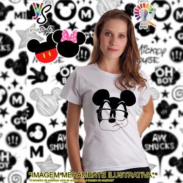 Baby look Feminina Mickey Mouse de Óculos