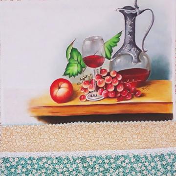 Pano de copa ou prato pintado à mão frutas e vinhos