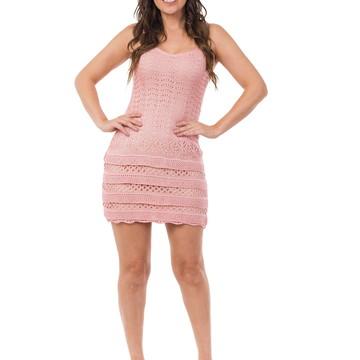 f97f2d3326 Vestido Curto Feminino Tricot Tricô Babado Rosa Claro 04804