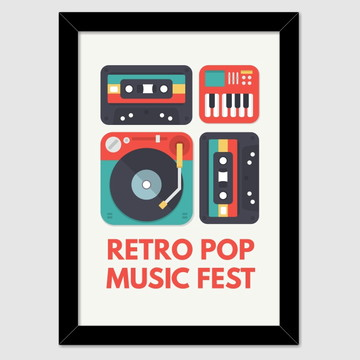 Quadro decorativo Retro Pop Music Fest