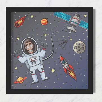 Quadro Infantil Bebê Espacial Astronauta