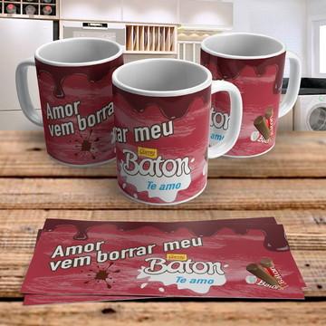 Caneca Porcelana Chocolate Baton