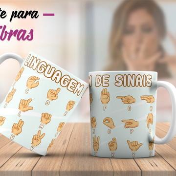 "Caneca de Porcelana Personalizada ""Tema Líbras"""