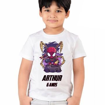 Camiseta Homem Aranha Personalizada Aniversario Infantil