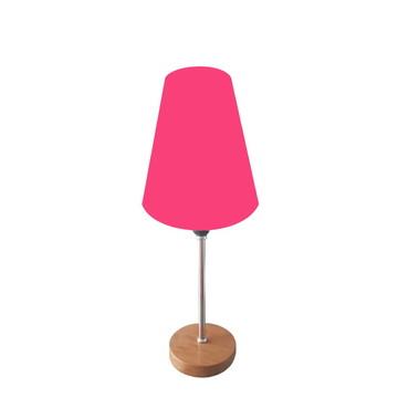 Abajur De Mesa 40cm Md1018 Cúpula Cônica Rosa Pink