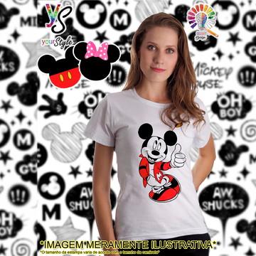 Baby look Feminina Mickey Mouse roupa vermelha