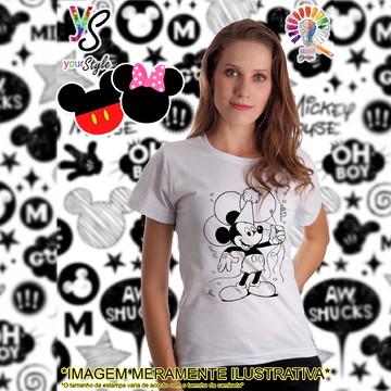 Baby look Feminina Mickey Mouse de Aniversário