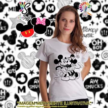 Baby look Feminina Mickey e Minie beijo