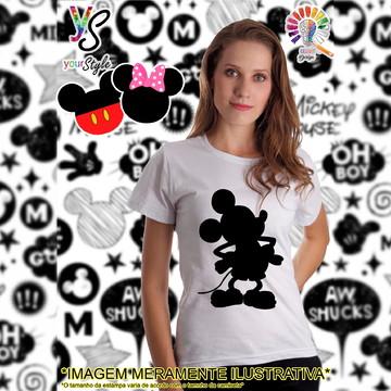 Baby look Feminina Mickey Mouse Silhueta