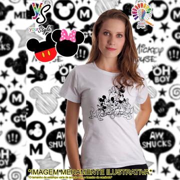 Baby look Feminina Mickey Minie Pluto Margarida
