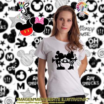 Baby look Feminina Mickey Mouse e Minie Silhueta