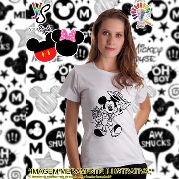 Baby look Feminina Mickey Mouse terno e chapéu