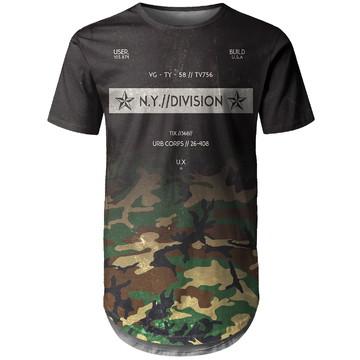 Camiseta Longline Masculina Camuflada Degradê Md03