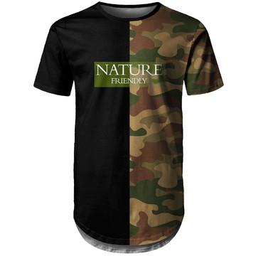 Camiseta Longline Masculina Camuflada Nature Md06