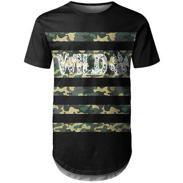 Camiseta Longline Masculina Camuflada Wild Md04
