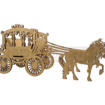 Cachepot Carruagem com Cavalos Mdf Festa Decoração