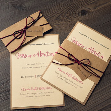 Convite de Casamento Rústico - Florenza