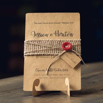 Convite de Casamento Rústico - Havana