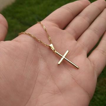 Pingente Crucifixo Simples + Colar Banhados a Ouro18k