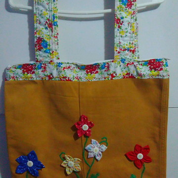 Bolsa em Tecido Floral e Ocre Ref.001