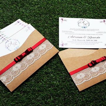 Convite de Casamento Rústico Kraft Floral *Envio em 7dias*