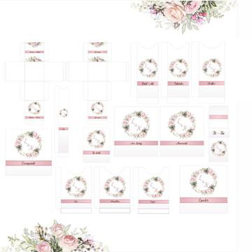 Kit Banheiro Casamento Rose - (Arte Digital)