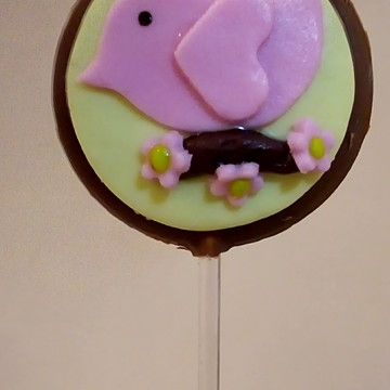 Pirulito chocolate decorado Passarinho