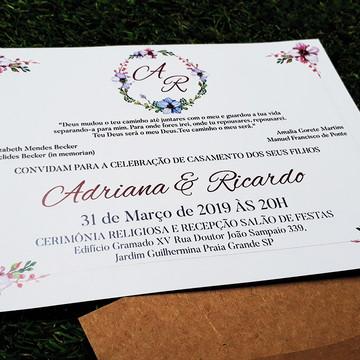 Convite de Casamento Rústico Marsala Fita Floral Criativo