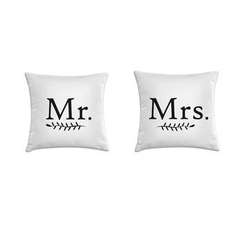 Kit 2 capas de almofadas Mr and Mrs 45x45