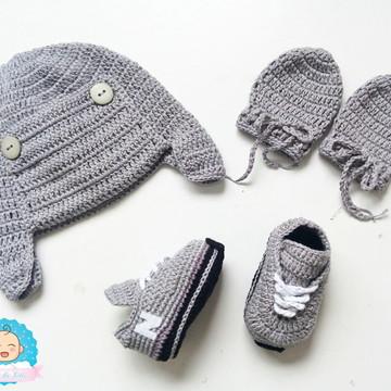 a9606a82a08 Kit Touca e Sapatinho de Croche Masculin