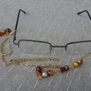Cordinha Oculos Maron e Dourado