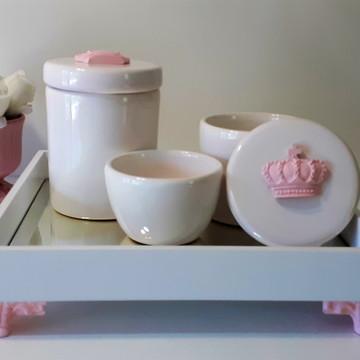 Kit Higiene bebê corôa rosa