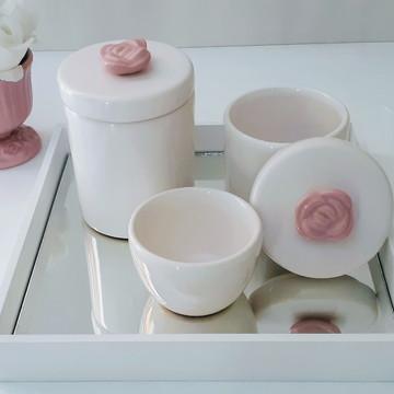 Kit Higiene bebê flor rosa