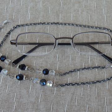 Cordinha Oculos Cristais Preto e Transparente