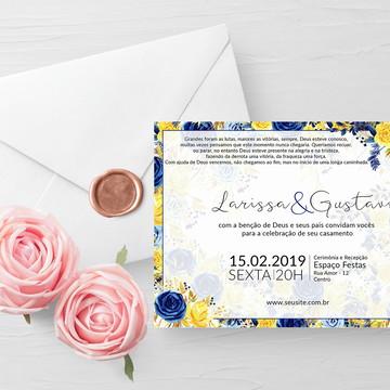 Convite Casamento Azul e Amarelo Digital
