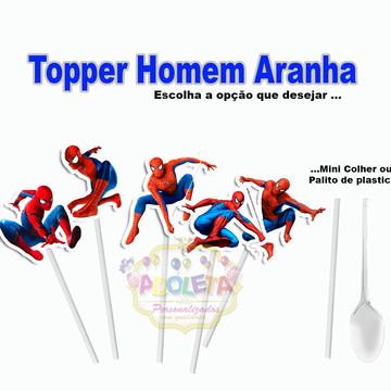 Topper com TAG 3D homem aranha ( 100 unid )