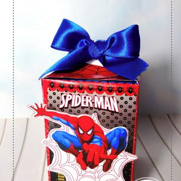 caixa retangular com alça homem aranha