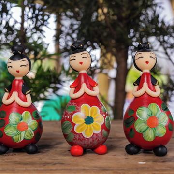 Boneca decorativa Cabaça japonesa coque