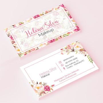 Cartão de Visita Floral Rose e Nude - Arte Digital
