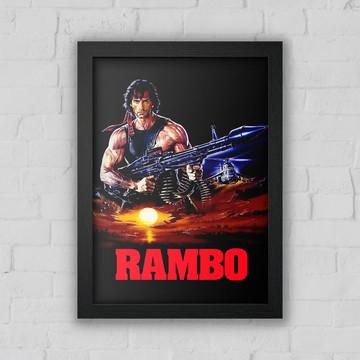 Quadro Decorativo Rambo com moldura e vidro