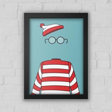 Quadro Decorativo Onde está Wally? com moldura e vidro