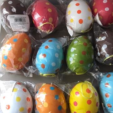 Ovos de plástico pintado para decoração de Páscoa - 6 unidad