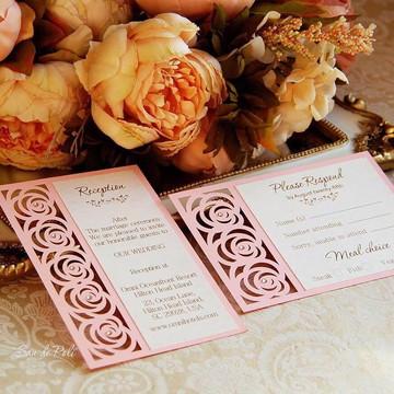 Arquivo De Corte Silhouette convite rosas casamento 15 anos