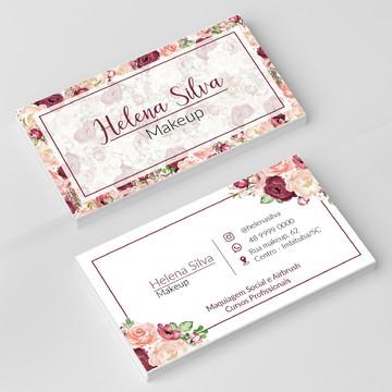 Cartão de Visita Floral Marsala - Arte Digital