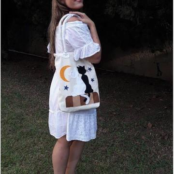 bolsa gato customizado em algodão cru